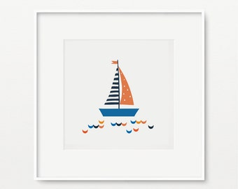"Printable Sailboat Nursery Wall Art- Nautical kids decor-  Pdf+Jpeg- 8"" x 8""- Instant Download- (AP-015)"