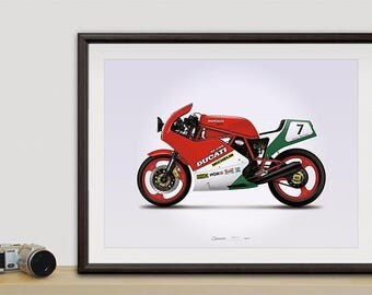 Ducati 750 F1 motorcycle illustration poster, print 18 x 24 inches