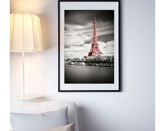 Fine ART Print of Paris  - Eiffel Tower in Red Photo Black and White Poster cityscape pictures