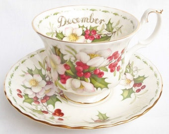 Royal Albert - December - Flower of the Month tea cup and saucer - Christmas Rose
