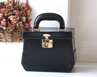 Gucci Bag Black Leather Beauty Case Train Case Authentic Vintage handbag