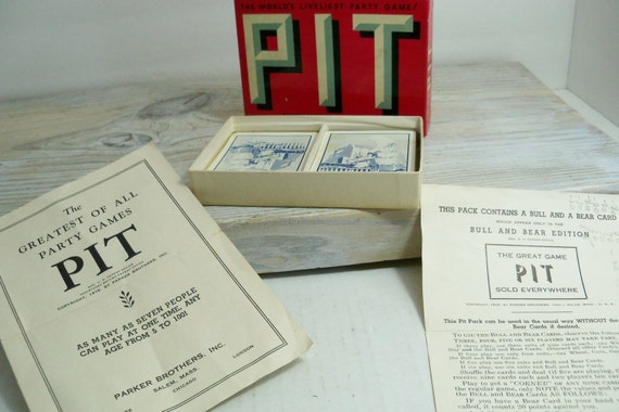 Vintage PIT Card Game - Parker Brothers Game - Pit Card Game - Party Card Game - 1919 - 2 Bull and Bear Cards - Original Box - Instructions