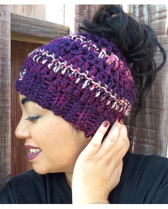 Crochet Messy Bun Hat in Purple Ripple