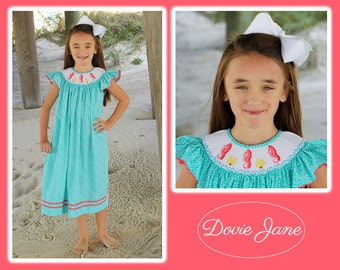 Seahorse Smocked Dress, Beach Dress, Girls Beach, Girls Smocked Dress, Under the Sea, Matching Sister Beach, Smocked Girls Beach