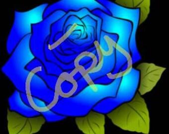 Blue Rose cross stitch pattern PDF