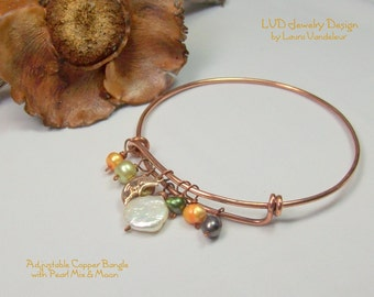 Adjustable Copper Bangle Bracelet with Multi Colored Pearls & Moon charm