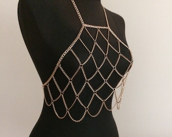 Rose Gold Chain Bralette, Chain Bra, Body Chain , Body Jewelry, Body Necklace, Body Harness, Chain Bralette
