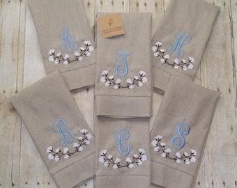 Cotton Boll Branch Monogrammed Linen Tea Towel Hemstitched Guest Towel