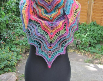 Triangular Shawl, Crochet Triangular Shawl, Multicolour crochet shawl