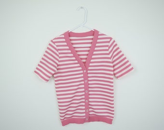 Vintage Short Sleeved Pink & White Striped Sweater / Medium Large / Cardigan / Polyester