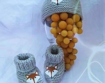 Cap Fox wool grey booties