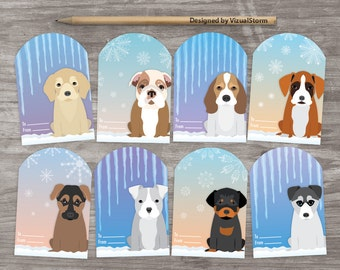 Winter Puppy Party Favor Tags Christmas Puppies Birthday Party Favors Printable Holiday Baby Shower Tag Puppy Dog Gift Tag Icicle Snowflake