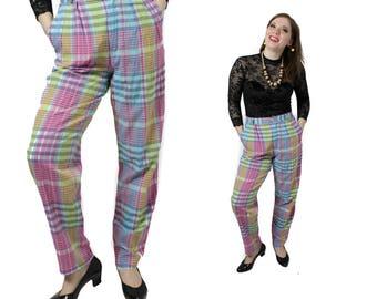 High waisted trousers, Plaid pants, Vintage pants,  Womens 70s pants, Checkered pants, Rainbow pants, Peg leg pants / Small Medium W 30