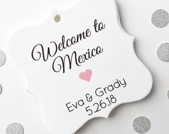 Wedding Favor Tags, Welcome To Wedding Tags, Hotel Bag Wedding Tags, Custom Wedding Hang Tags  (FS-056)