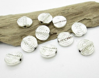 Silver Spacer Bead, Spiral Spacer, Indian Shiny Round Silver Spacer Bead, 12mm (10)