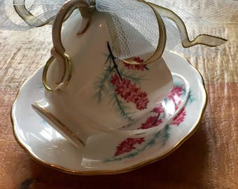 Pink heather sprig - Vintage teacup bird feeder (Colclough)