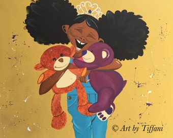 "Black Art ""Huggable Harriet"" 24x30 in. Original Painting"