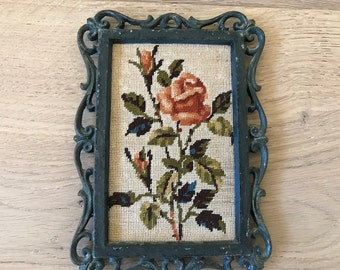 Antique French Floral Petitpoint Rose Framed