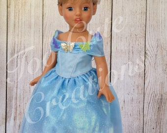 Princess Ella Cinderella Dress made to fit like american girl clothes for 18 Inch Doll