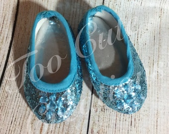 Elsa Teal Jeweled Glitter Flats, Queen Elsa Shoes, 18 inch doll accessories, American Girl Store
