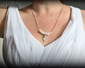 Natural Rose Quartz Crystals - Quartz Pendant, Rose Quartz Necklace