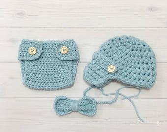 Ready Ship ! Newborn Baby Boy Photo Prop Handmade Crochet Diaper Cover, Crochet Diaper Cover Hat and Bow Tie Set * Baby Blue *