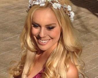 Flower crown Wedding. Floral headband. bridal crown Wedding Crown Woodland Flower headband. Woodland maternity hair. Pearl floral headpiece