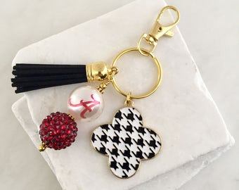 University of Alabama Key Chain, Houndstooth Key Chain, Crimson Tide, Roll Tide, Crimson, Game Day Key Chains, Alabama Graduation Gifts