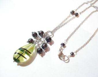 Green Teardrop Lampwork Hematite WireWrapped Pendant Dangle Unique Minimal Lampwork Teardrop & Hematite Necklace