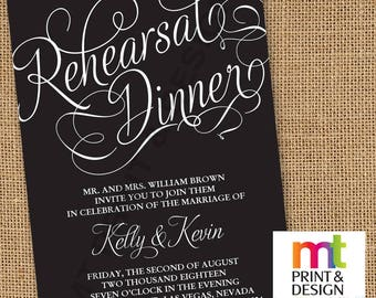 Wedding Shower Rehearsal Dinner Elegant Contemporary Invitations PRINTED with envelopes
