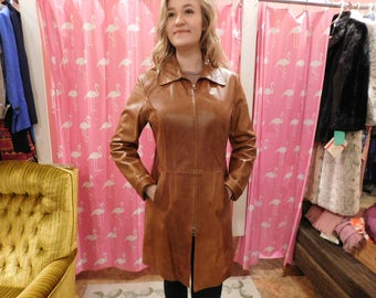 1960's Butter Leather coat/Vintage/ Retro/ Full length/ Vera Pelle/ made in Italy