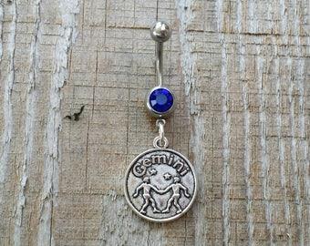 Gemini Belly Button Ring, Zodiac Navel Ring, Dangle Belly Ring, Body Piercing, Zodiac Charm, Body Jewelry, 14g Barbell.