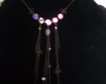 rust colored necklace with swarovski