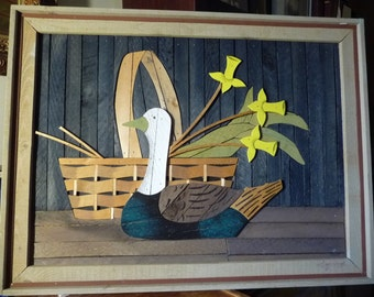 """Lath Art, Wooden Folk Art Form, Basket and Decoy, Signed by Theodore Degroot, """" Country Daffodils"""" 1970's"""