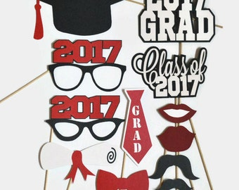 Graduation Photo Booth Props - Set of 12 - Photobooth Props - Class of 2017 - 2017 Graduation - Graduation Party - Graduation Centerpieces