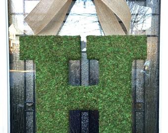 """Moss Monogram Wreath,18"""" Moss Letter,Custom Front Door Initial Wreath,Door Letter,Rustic Wedding Monogram,Spring Monogram,Natural Gift"""