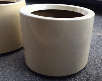 Fiberglass cylinder style architectural floor planter indoor outdoor