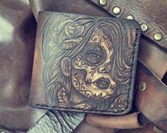 Santa Muerta Handmade Leather Wallet Men Womens Wallet Women Leather Bifold Wallet Mens Bifold Wallet Mens Wallet Bifold Leather Wallet
