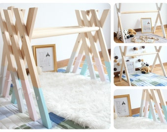 Baby wooden gym / Stylish nursery decor / Activity center / Choose color