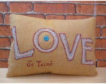 Love Cushion, Burlap Pillow, Hessian Cushion, Home Decor, Wedding Gift, Gift for Her, Love Je Taime, French Cushion, Wife Gift, Girlfriend