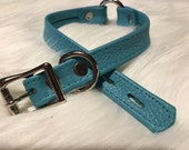 Teal Leather O-Ring Choker Style Collar