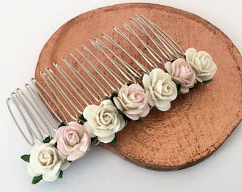 Pale pink Hair Comb, ivory and pink Bridal Hair Comb, Wedding Hair Comb, Bridal Hair Accessories, Bridesmaid Hair Comb,