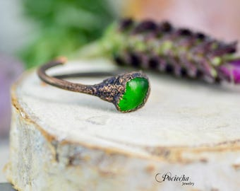 Green glass copper adjustable ring, electroformed ring, patina unique ring jewelry bohemian electroformed natural green jewelry  by POCIECHA