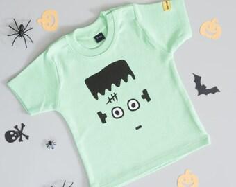Frankenstein T Shirt|Halloween T Shirt|Halloween|Frankenstein|Green T Shirt|Kids Top|Monster T Shirt|Baby T-Shirt|T-Shirt|Ethical Clothing
