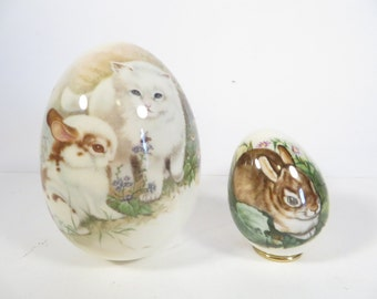 Vintage Set of 2 Ceramic Eggs -  Bunny Rabbit and Kitten China Easter Eggs