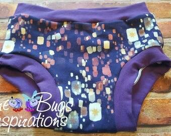 Size 6/7 floating Lantern  underwear - girl underwear - purple underwear -girl gift - panties - custom underwear - Lantern underwear