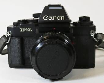 Canon F-1 AE Finder 35mm SLR Film Camera NFD 50mm f/1.4 Japan w/ Case