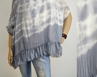 42 44 46 / 14 16 18 Italian Silk-Cotton Lagenlook Tunic Poncho 2Pc Top Tie Dye Frills