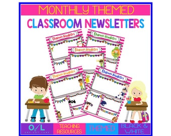 Monthly Themed Pink Classroom Newsletters