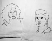 Dirty Dancing - Hand Embroidered Tea Towels, Set of Two - Johnny and Baby, Patrick Swayze, Jennifer Grey